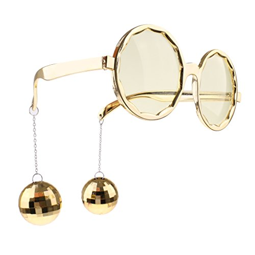 Prettyia Shiny Hanging Disco Sphere Ball Glasses Eyewear Party Unisex Costume Accessory - Gold, as - Glasses Ball Disco