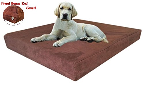 """55""""x47""""x4"""" Chocolate Brown Anti Slip Washable Microfiber Suede Waterproof Orthopedic True Solid High Density Memory Foam Therapeutic Pad Pet Super Big Dog Bed Crate FREE 2nd External Washable Cover"""