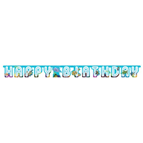 Creative Converting Ocean Happy Birthday Jointed Party Banner -