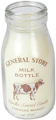 Botella de leche de tienda tradicional retro con vela con aroma de vainilla