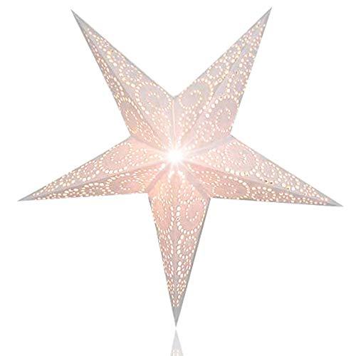 Happy Sales HSSL-UNTWHT, Unity Swirl Paper Star Lantern, White -