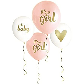 Gold baby shower balloons it 39 s a girl 4 pack for It s a girl dekoration