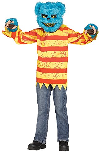 Scary Bear Mask - Killer Bear Costume,Blue / Yellow / Red,Medium (8-10)