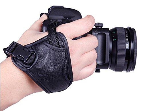EQLEF® PU Leder Tragegurt Padded Wrist & Grip für SLR / DSLR Kameras