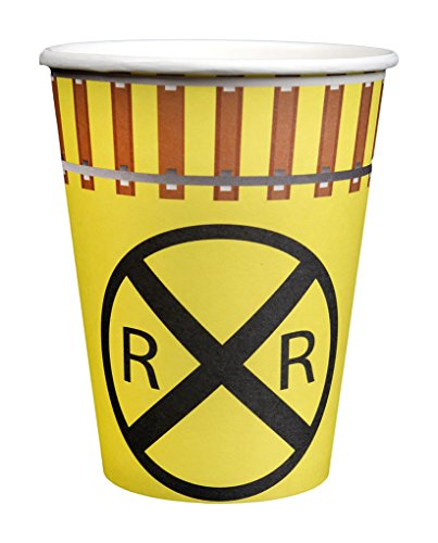 Railroad Sign 12oz Party Paper Cups (For Hot and Cold, 8 Pack) Railroad/Train Party Collection by Havercamp -