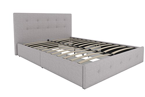 DHP Rose Upholstered Platform Bed with Under Bed Storage and Wooden Slats, Button Tufted Headboard in Linen, Queen Size - Grey