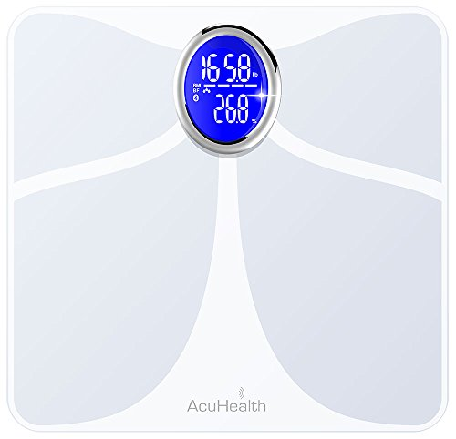 AcuHealth Body Fat Scale and Fitness Analyzer - Your Personal Health Monitor with Bluetooth Connectivity with iOS & Android Smartphone and Tablet Devices Analyzes 10 Heath Parameters ( White (Healthy Body Fat Analyzer)