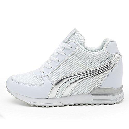 LILY999 Zapatillas de Cuña Para Mujer Zapatillas de Deporte Zapatillas Altas Primavera/Verano Tacón Cuña 7CM Blanco