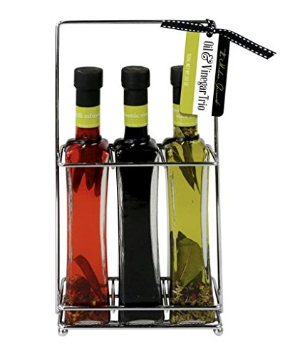 Gourmet Infused Olive Oils & Vinegar Trio Gift Set | Chili Infused Oil, Italian Extra Virgin Olive Oil & Italian Balsamic Vinegar to be enjoyed with Pizza, Salads, Pasta, and (Balsamic Pasta Salad)