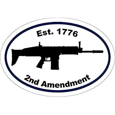 1776 2nd Amendment Gun Assault Rifle Silhouette Decal Vinyl Sticker Bumper Gift Made in USA for Car Laptop Toolbox Helmet Walls Skateboard Motorbike Bicycle Bottles Door Window: Kitchen & Dining