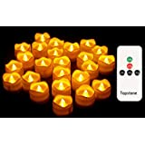 Topstone Remote Control Tealights with Timer,Battery Operated Flameless Candle with Flickering Amber Bulb,Electric Tea Light
