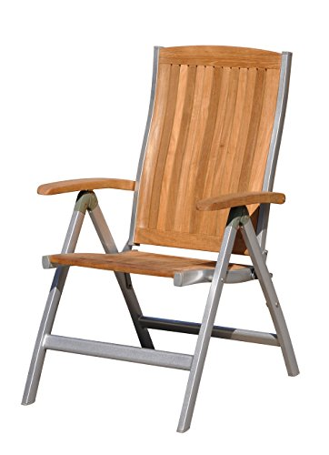 (Courtyard Casual Natural Finish Burma Teak and Aluminum Outdoor Chair)