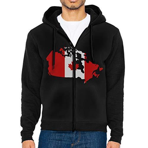 LD6DBGK Canadian Map with Canada Flag Men's Full Zip-Up Hooded Fleece Coat Black