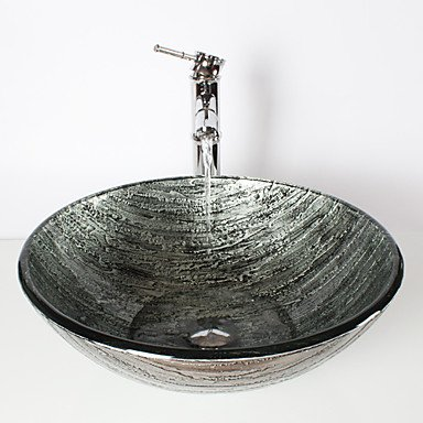 Ancient silver round tempered glass wash basin bamboo faucet, pop-drain and install the ring shuaishuaiguo
