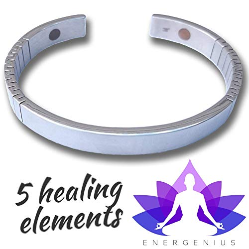 MAGNETIC BRACELET  Arthritis Pain Relief  Back Pain Joint Pain Muscle Pain  Migraine Relief  5 ELEMENT Magnetic Therapy  Negative Ions  Stainless Steel  Natural Healing