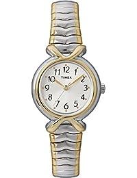Timex T21854 Pleasant Street reloj de pulsera de expansión de acero inoxidable de dos tonos para mujer