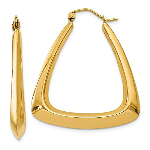 Large Triangular Hoop Earrings in 14k Yellow Gold