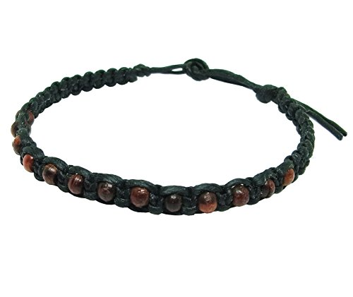Thai Buddha Fashion Art Handmade Bracelet Black Wax String Brown Wood Beads Wristband Thailand