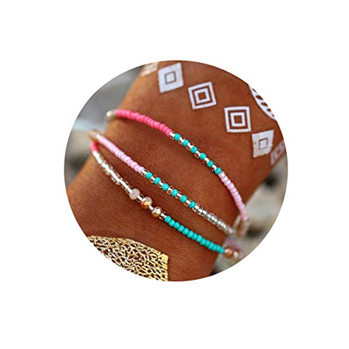 Pink Bead Bracelet - FINETOO Pink Bead Braided Rope Bracelet Set Handmade Waterproof Wrap Bracelet for Woman Kids