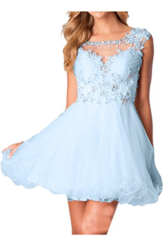 Hellblau Applikation Ivydressing Damen Ballkleider Abendkleid Zaertlich Cocktailkleid Blumen 6RF1nWR