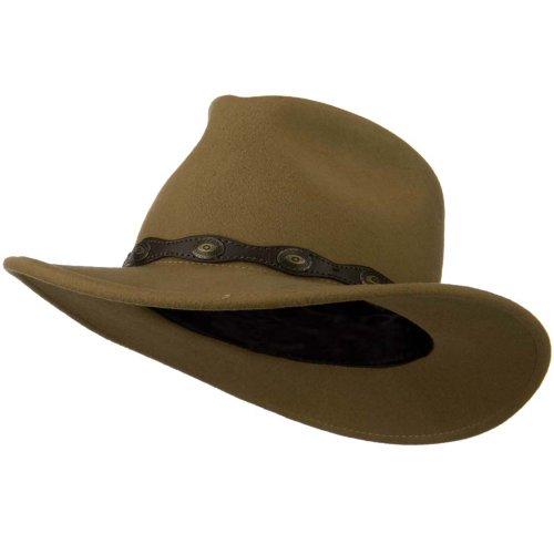 (Jeanne Simmons Wavy Leatherette Band Wool Felt Fedora Hat - Camel M)