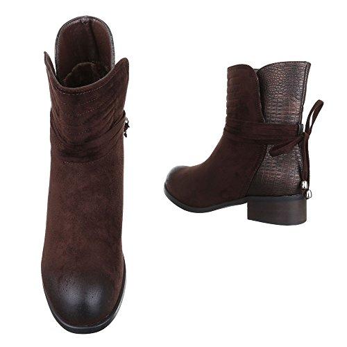 Ital-Design Komfort Stiefeletten Damen Schuhe Schlupfstiefel Blockabsatz Leicht Gefütterte Stiefeletten Braun