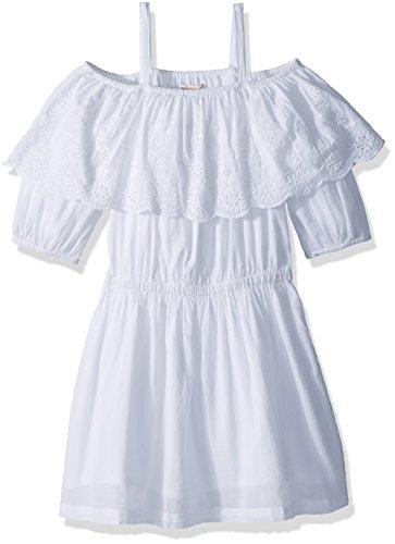 Ella Moss Girls' Big Shoulder Peasant Dress, White, 7/8 (Off Shoulder Peasant Dress)