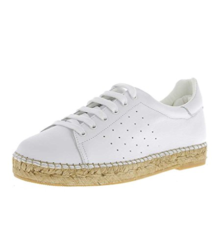 Andrew Stevens Women's Terra Leather Fashion Espadrille Sneaker (39, White)