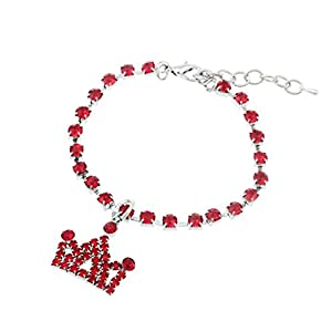 Woaills Dog Jewelry, Pet Diamante Crown Rhinestone Pendant Necklace Collar (S, Red)