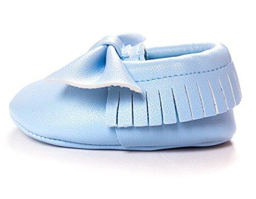 HAPPY CHERRY Suaves Zapatos Calzado de Primeros Pasos Zapatitos sin Cordones Mocasines con Borlas para Bebés Niños Niñas 12 - 18 Meses 13CM Talla EU 21 Color Rojo Brillante Azul Claro