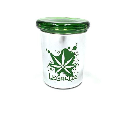 Silver Pop Top Jar Glass Medical Jar Herb Stash Container (6oz, Green Silver)