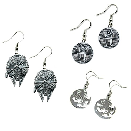 Outlander Gear Star Wars Millennium Falcon & Deathstars Silouette & Etched (3-Pair) Cute Girl Dangle Charm Earrings w/Gift -