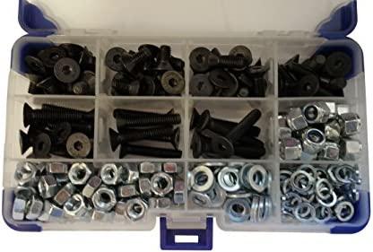 700 piezas negro AHC K-10034 5 mm M5 Socket Set tornillos avellanados con arandelas y tuercas