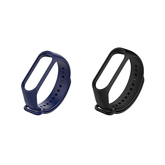Liddu Wristband Band Straps for Xiaomi Original Mi 3 & Mi 4 Bands (Combo Pack, Pack of 2) (Navy Blue, Black, Xiaomi Mi