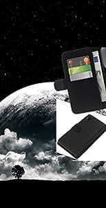 LECELL--Cuero de la tarjeta la carpeta del tirón Smartphone Slots Protección Holder For Sony Xperia Z2 D6502 -- Surrealista Luna --