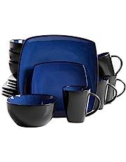 Gibson Elite Soho Lounge Reactive Glaze Stoneware Dinnerware Set, Service for 4 (16pc), Sapphire