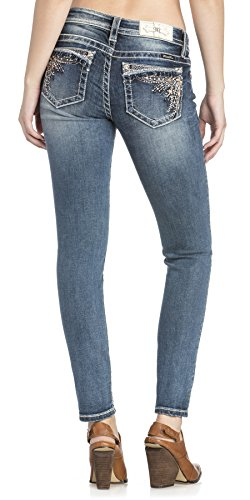 - Miss Me Junior's Mid-Rise Skinny Jeans with Ruffled Embellishments, Medium Blue, 29