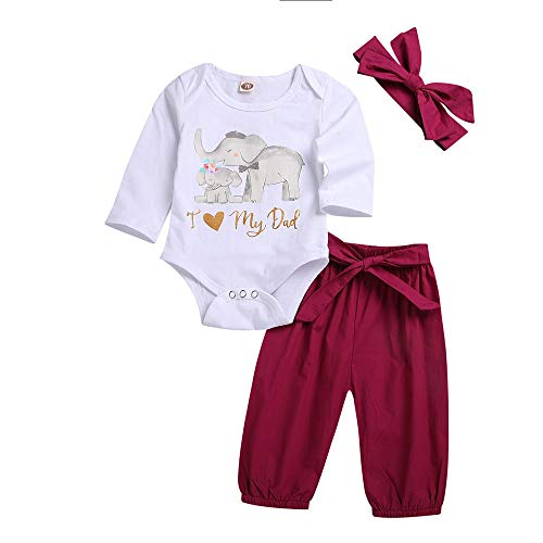 2018 3PCS Toddler Kids Outfit,Baby Letter Elephant Romper Pants Headbands Set (12-18 Months, White 2)