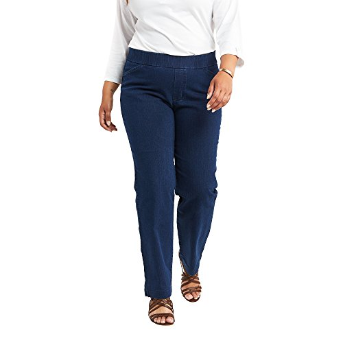 Chic Classic Collection Women's Petite Plus Easy Fit Elastic Waist Jean, Starlite, 18W