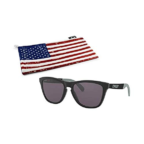 Oakley Frogskins Mix Sunglasses (Matte Black Frame, Prizm Grey Lens) with Country Flag Microbag (Frogskins Matte Black)