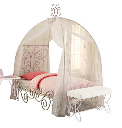 ACME Furniture 30530T Priya II Canopy Twin Bed, White & Light Purple