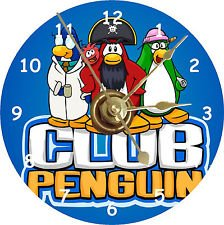 Club Penguin Red Puffle - Club Penguin CD Size Clock with Captain Rockhopper - EPF Director Aunt Arctic - Gary the Gadget Guy - Red Puffle - Colorful and Perfect Gift