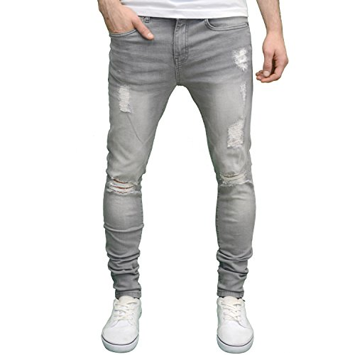 Enzo Mens Ripped Super Stretch Skinny Distressed Jeans (42W ...
