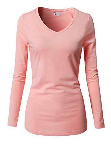 H2H Women's Juniors 4 Pack Basic Long Sleeve Cotton Stretch Light Weight Athletic Top Pink US L/Asia L (CWTTL0250)