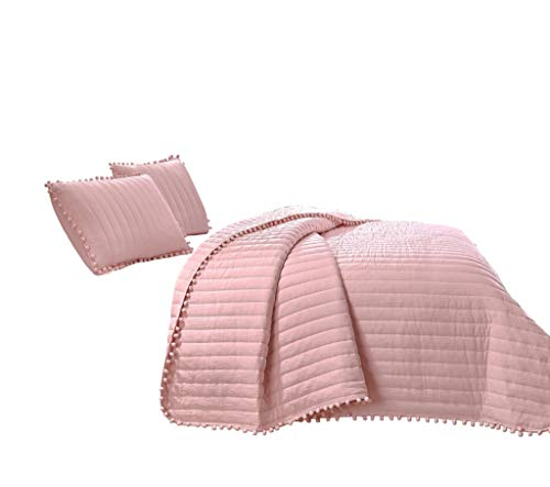 Chezmoi Collection Iris 2-Piece Pink Pom Poms Fringe Channel Quilted Pre-Washed Bedspread Set, Twin Size