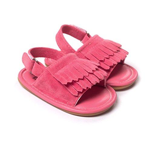 Bebé Prewalker Zapatos Auxma Sandalias de cuero de la princesa Firstwalker de la princesa Soled-Soled de la borla del verano del niño de los bebés Rosa caliente