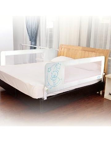 Barrera de cama nido para bebé, 180 cm. Modelo osito y luna rosa.