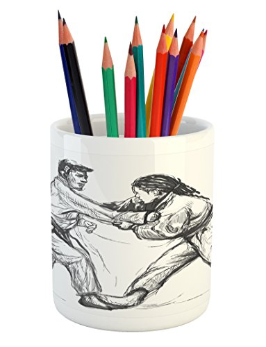 Cheap  Lunarable Asian Pencil Pen Holder, Karate Eastern Martial Arts Practicing Men Figures..