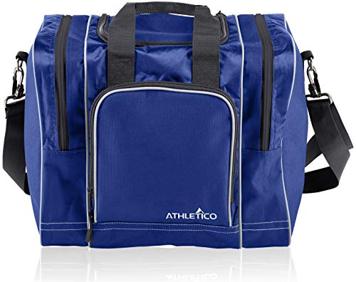 Athletico Bowling Bag for Single Ball - Single Ball Tote Bag with Padded Ball Holder - Fits a Single Pair of Bowling Shoes Up to Mens Size 14 (Blue)