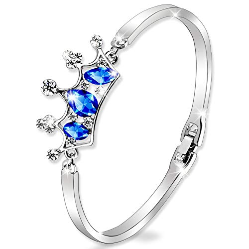 SYLVICA Women Bangle Dream of Crown Bracelet Made with Sapphire Zircon, Fashion Jewelry for Valentine